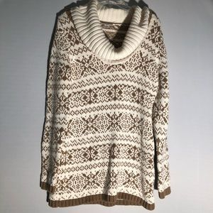 Loft Snowflake Printed Cowl Neck Sweater Y